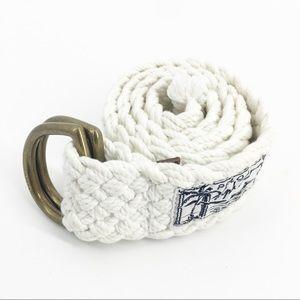 """RALPH LAUREN Vintage White Braided Belt 38"""""""
